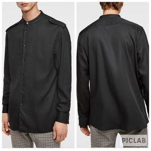 New Zara Men's Black Button Down Shirt Sz M